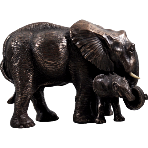 Mother & Baby Elephant Cold Cast Bronze Animal